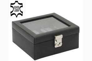 Pudełko skórzane na 6 zegarków z przeszkleniem